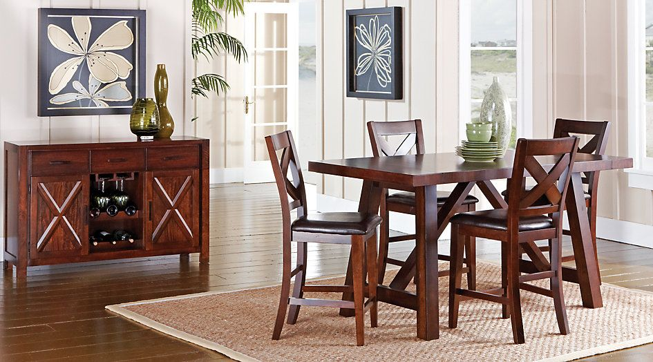 Mango Burnished Walnut 5 Pc Counter Height Dining Room From Furniture Dining Room Sets Rooms To Go Furniture At Home Furniture Store
