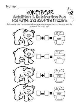 Honey Bear Math Fun Addition Subtraction Worksheet Fun Math