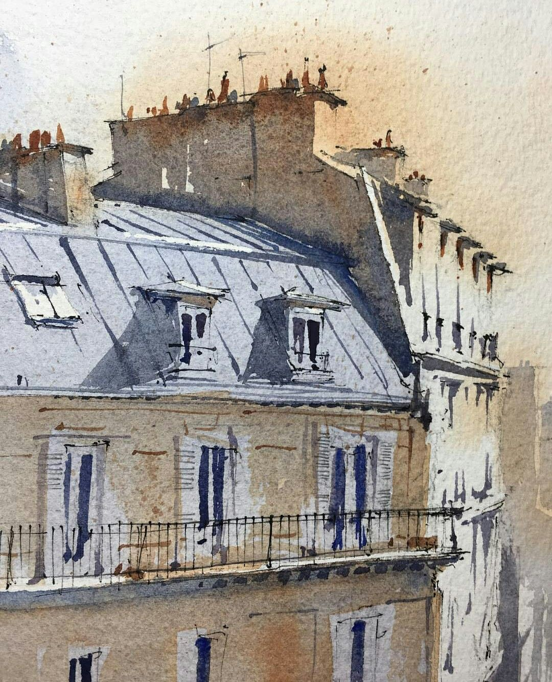 Paris Aquarell Paris Painting Paris Rooftops Paris Buildings