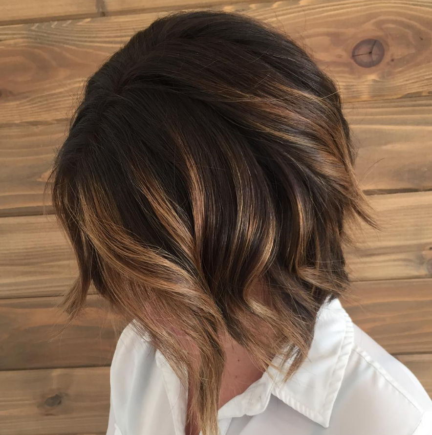 Caramel brunette balayage bob with dark smudge root by aveda artist