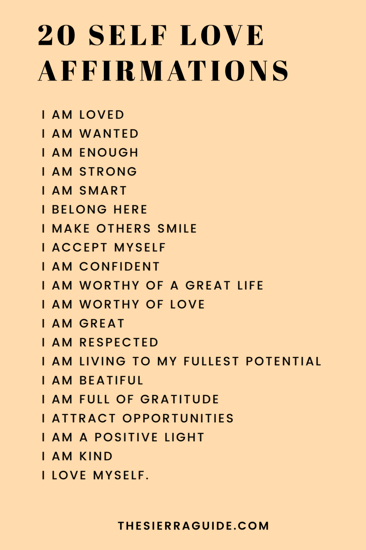 Positive Affirmation Self Love