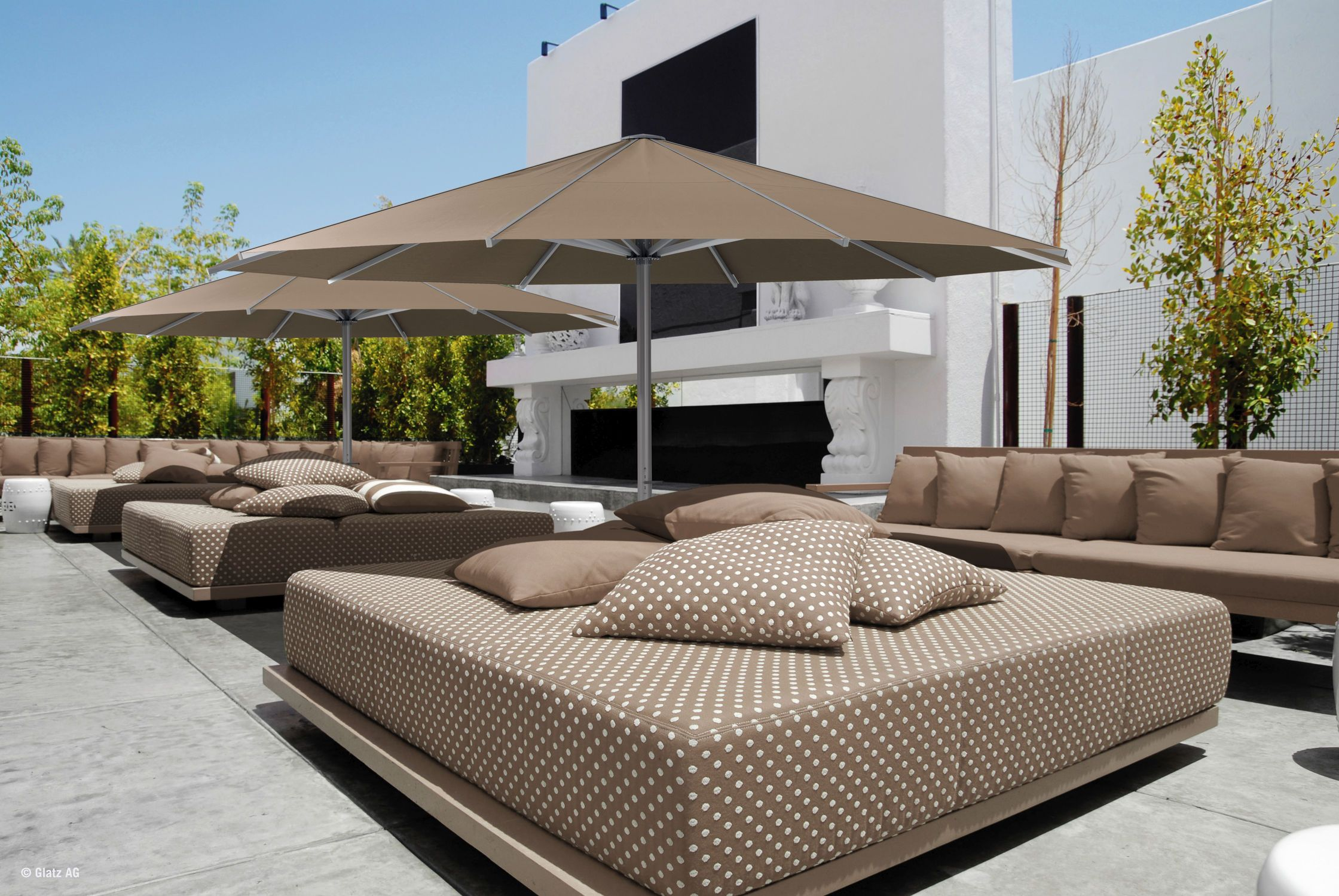 Furniture Decoration Comfortable Brown Sofa Bed With Pillows  · Patio  Umbrella ...