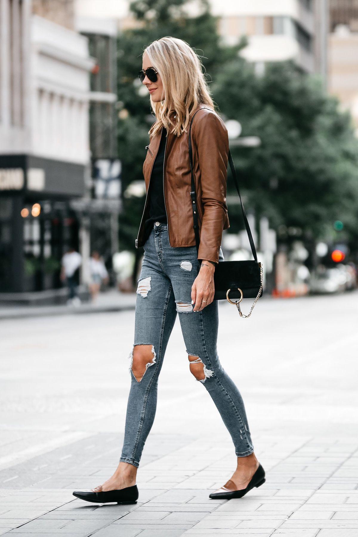 Blonde Woman Wearing Tan Leather Jacket Black Tshirt Denim Ripped Skinny  Jeans Outfit Black Tan Loafers Chloe Faye Handbag Fashion Jackson Dallas  Blogger ...