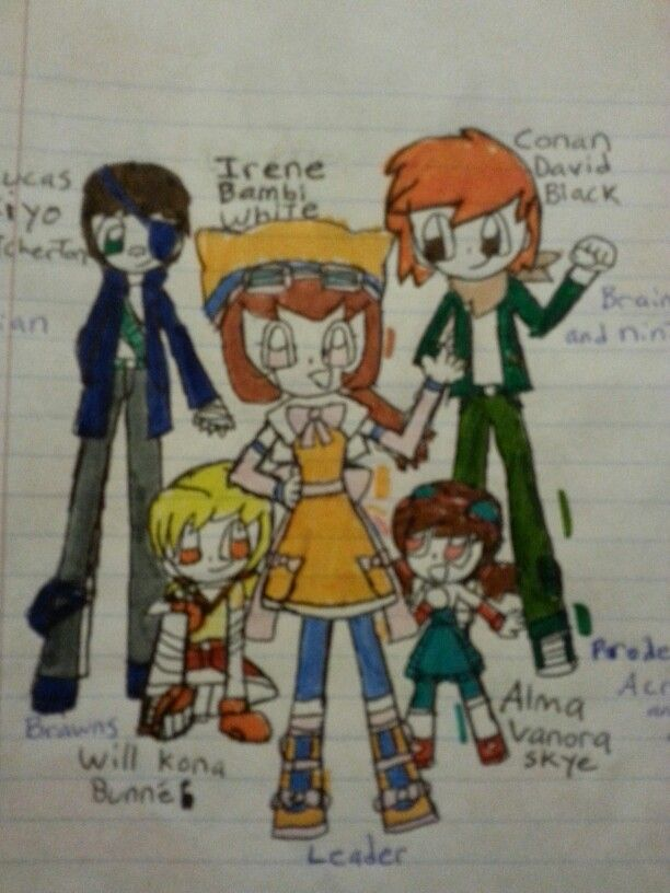 Irene bambi white (marigold leader) Alma vanora skye (a child in teal turquoise) Conan David black ( tall, orange and green) Will kona bunne ( yellow fighter) Lucas kiyo patcherton ( navy blue with an eye patch) Team I.C.A.W.L.
