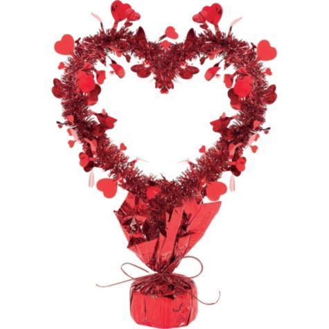 tinsel heart centerpiece 14in party city - Party City Valentine Decorations