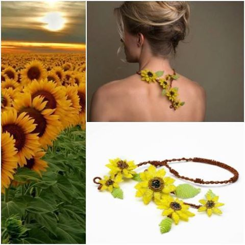 This handmade beaded sunflower couture necklace features a hand beaded group of sunflowers made with swarovski crystal and japanese beads!
