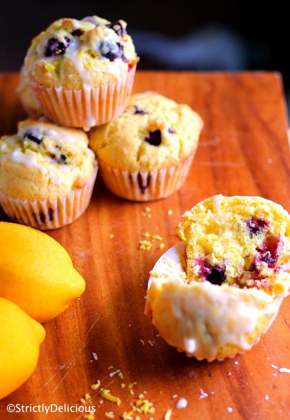 Lemon Blueberry Muffins with Zesty Lemon Glaze
