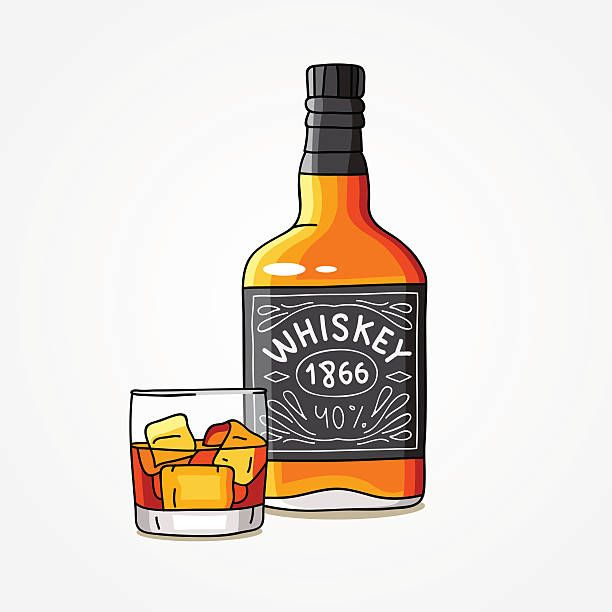 Bottle Of Whiskey And A Glass Vector Art Illustration