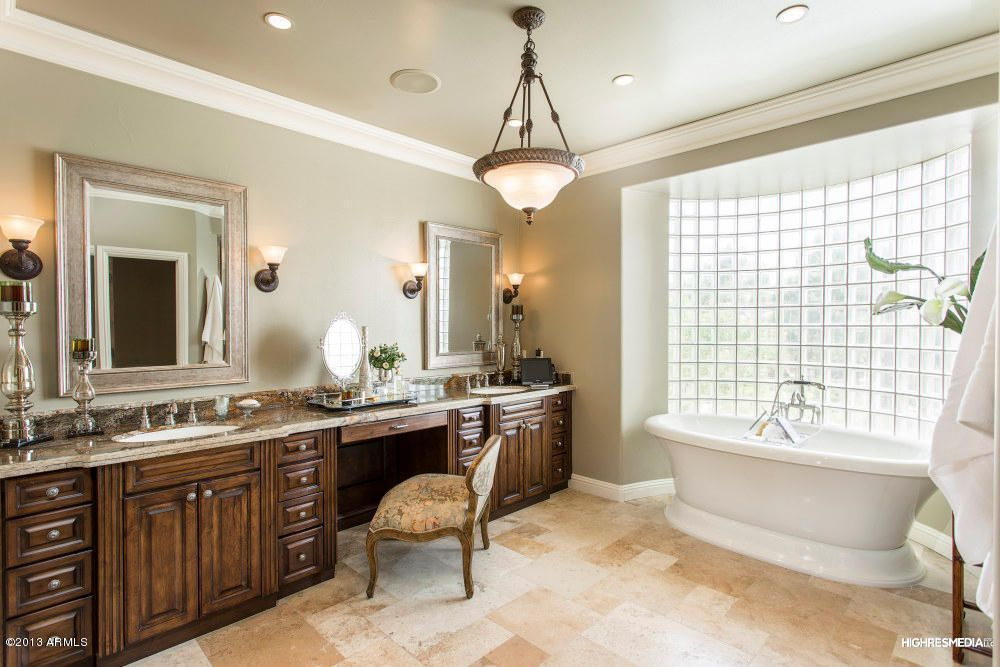 Traditional Master Bathroom With Double Sink Wall Sconce Crown Molding Limestone Tile Floors Flush Light High C Home Master Bathroom Limestone Floor Tiles