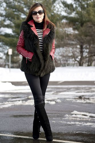 Balenciaga moto leather jacket & Vince fox fur vest by fabbylife, via Flickr