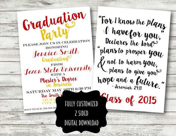 Graduation invitation announcement party college university high graduation invitation announcement party college university high school bible verse quote girl guy bachelors masters jeremiah filmwisefo Gallery