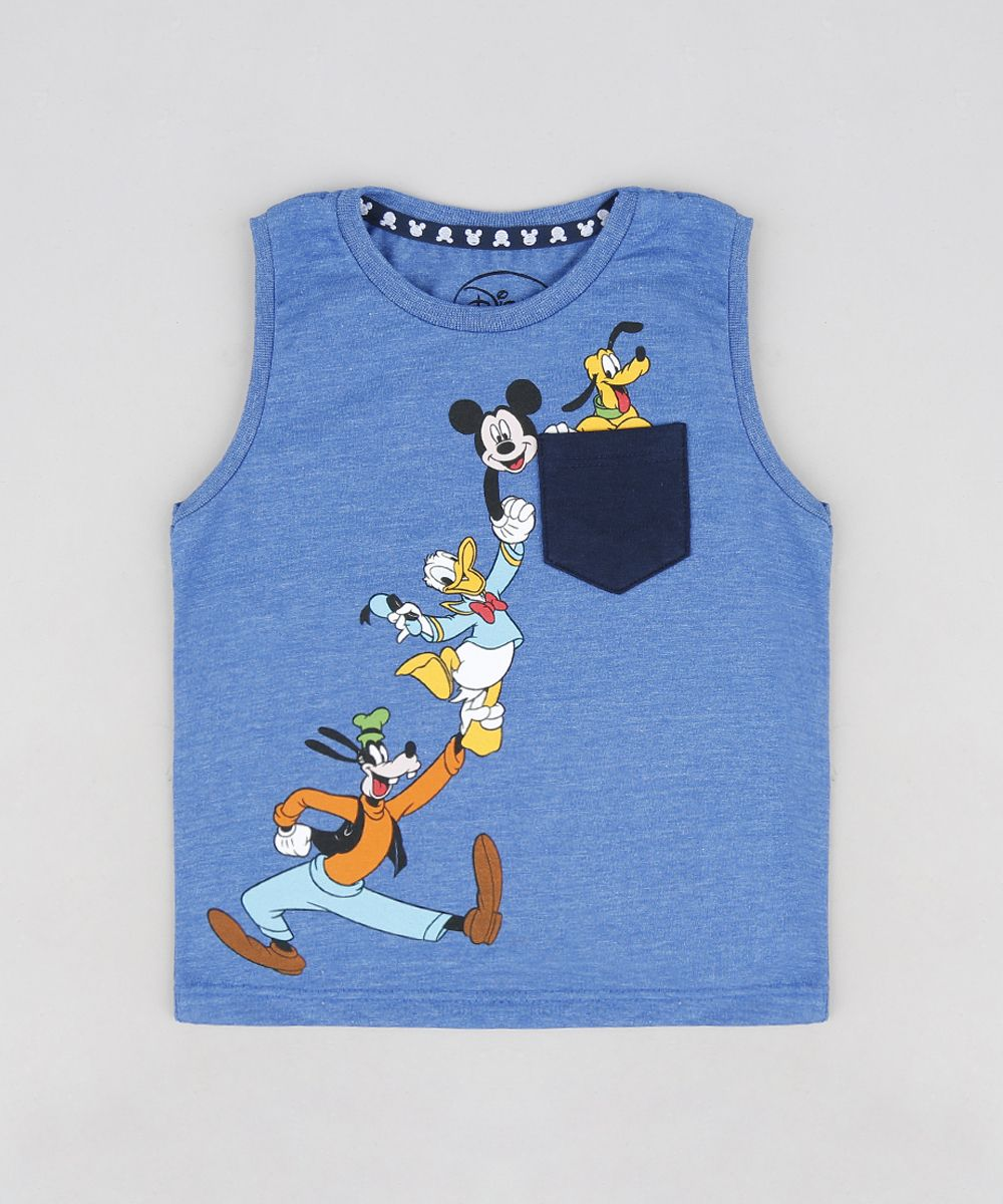 Regata Infantil Turma do Mickey com Bolso Gola Careca Azul  5c33ef1a39bbc