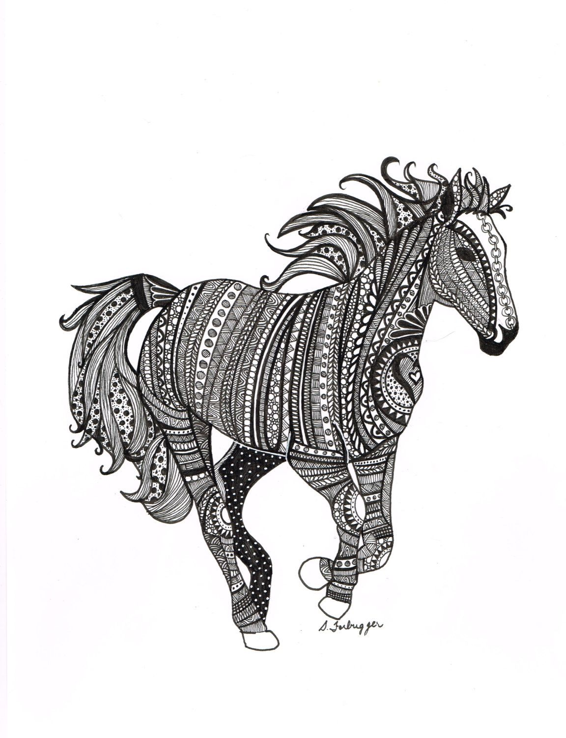 zentangle horse pencil art pinterest drucken pferde. Black Bedroom Furniture Sets. Home Design Ideas