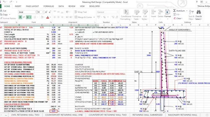 Download Drawing Of Retaining Wall Excel Sheet Retaining Wall Design Gravity Retaining Wall Retaining Wall