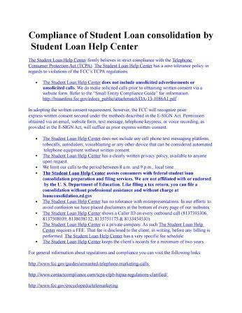 Compliance of Student Loan consolidation by The Student Loan Help