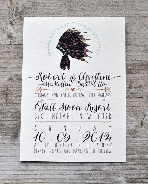 Native American Headdress Wedding Invitation by housemanpaperco