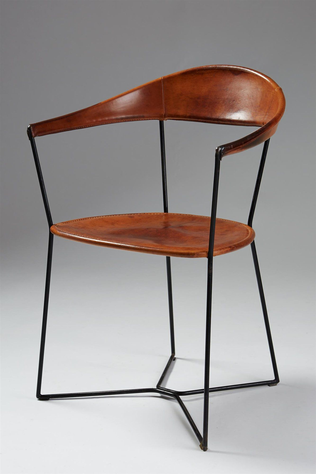 Ivar callmander leather lacquered steel chair 1930s vintage 1930s home