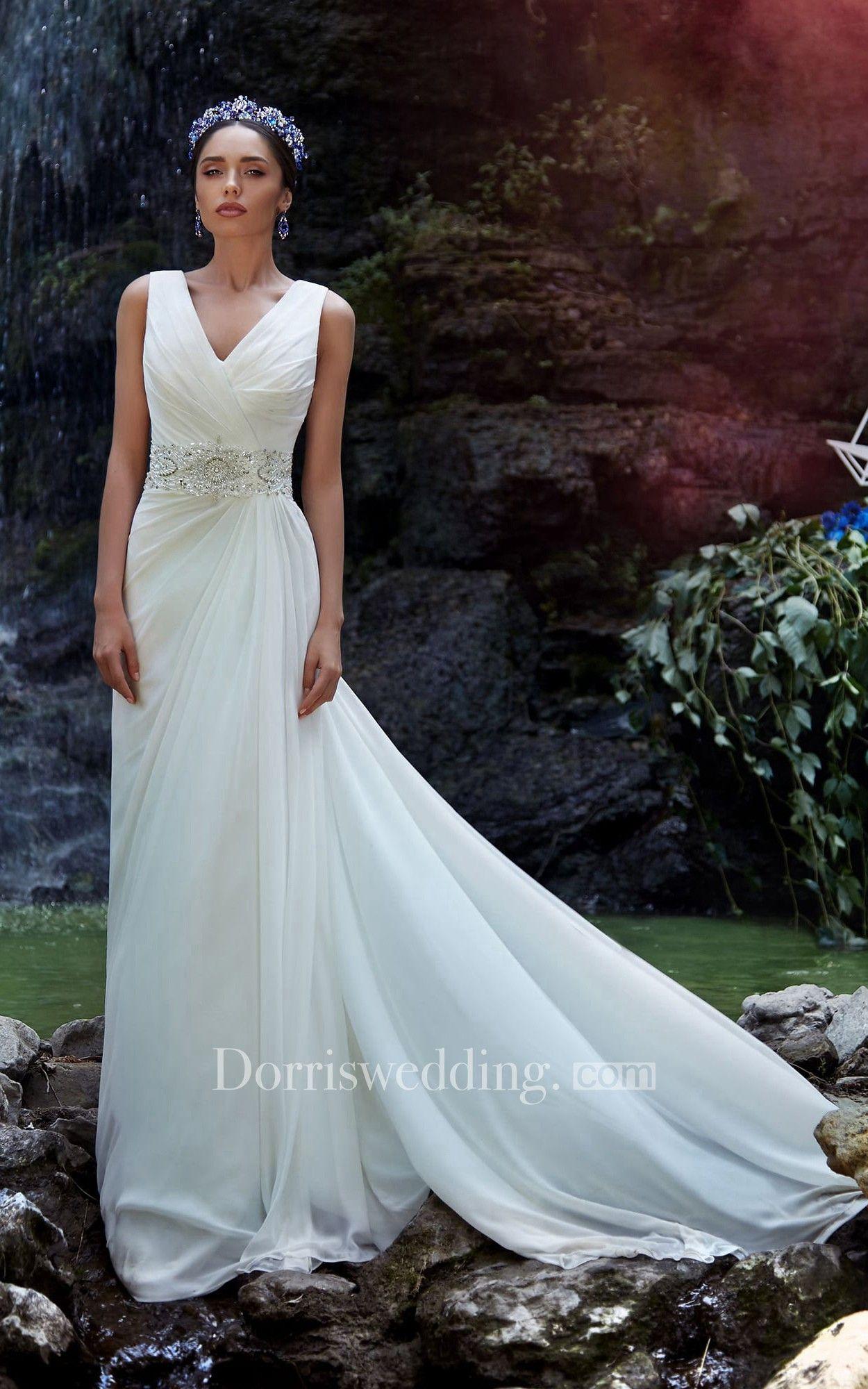 A-Line Long V-Neck Sleeveless Zipper Chiffon Dress With Beading And ...