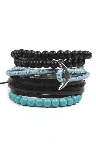 4 Pack Teal Anchor Bracelet Set
