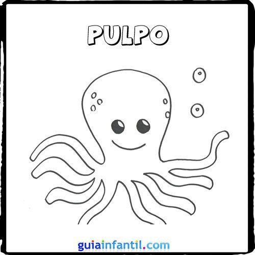 Dibujo de un pulpo para pintar con los niños | preschool | Pinterest ...