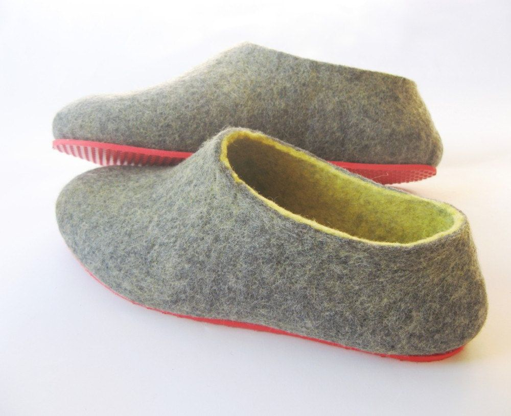 6d4e50d3a1cf2 Red Sole Felt Wool Shoes Gray Yellow Contrast. Non Slip Outdoors ...