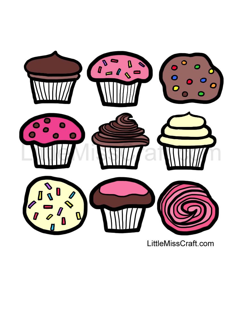 delicious cupcakes ready to color print coloring page at httplittlemisscraft - Cupcakes Coloring Pages