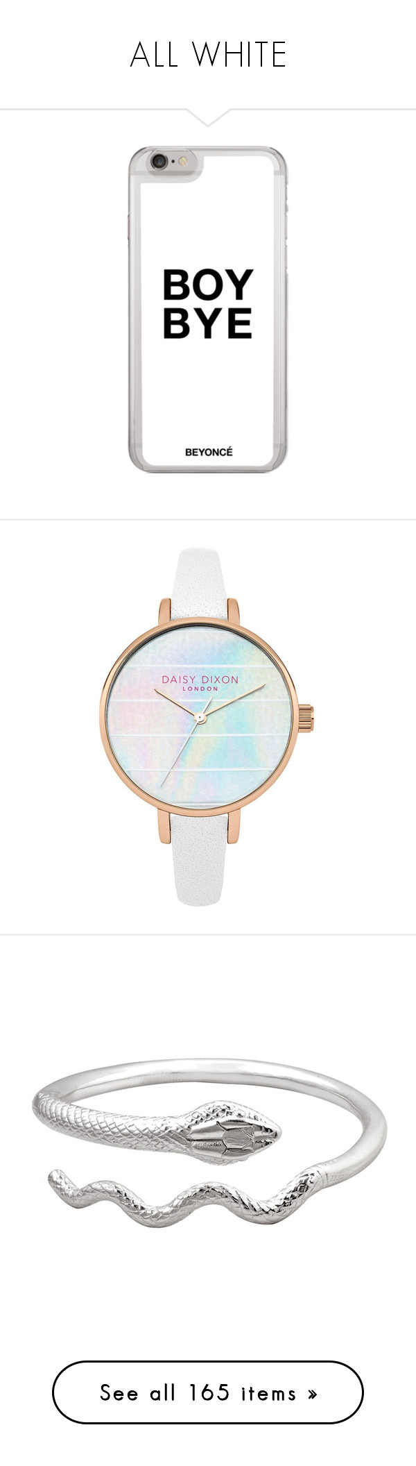 """ALL WHITE"" by hemmingsbxtch ❤ liked on Polyvore featuring accessories, tech accessories, iphone cover case, iphone sleeve case, jewelry, watches, iridescent jewelry, water resistant watches, metallic jewelry and leather strap watches"