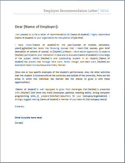 Employee Recommendation Letter Nats Employee Recommendation