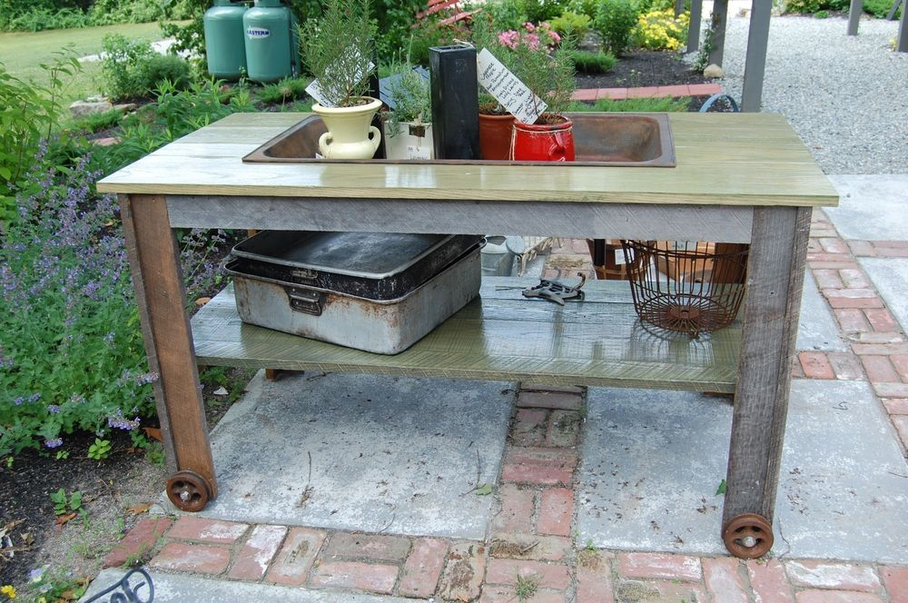 Antique Vintage Old Farm Sink Table Garden Work Bench Potting Bench Bar Bathroom Garden Work Bench Potting Bench Bar Potting Bench