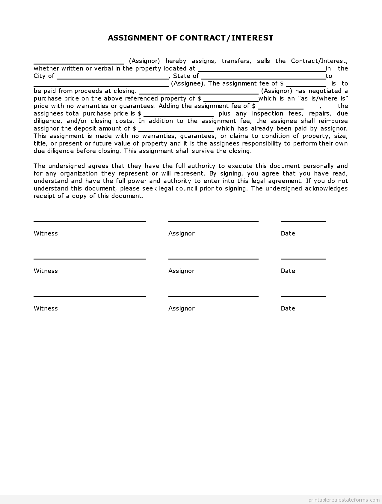 Sample Printable Exclusive Listing Contract Form  Printable Real