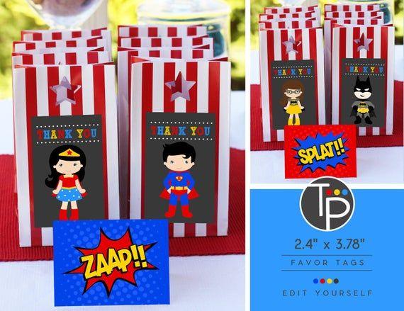 Superhero Favor Tag, Superhero Gift Tags, Superhero Printable, Superhero Thank you Tags, Favor tag, Superhero Party Favor Tag, Superheroes #superherogifts