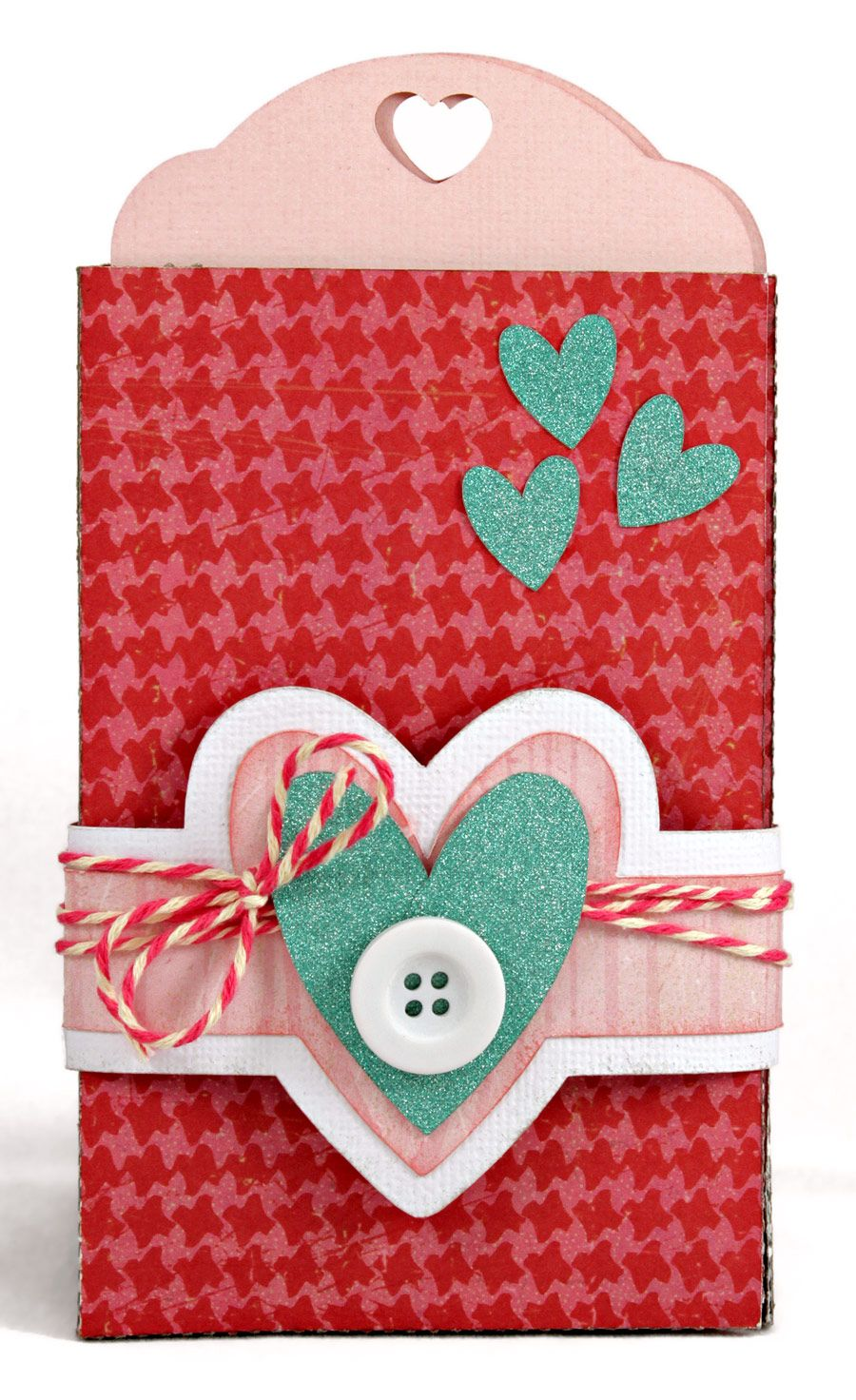 What a fun and unique Valentine's Day Card! Three-pocket, tri-fold tag card says I love you across the three tags.