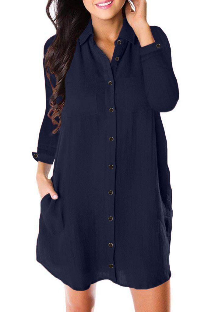 Women Casual Button Down Shirt Dress Ladies Formal OL Loose Midi Dress Tunic Top