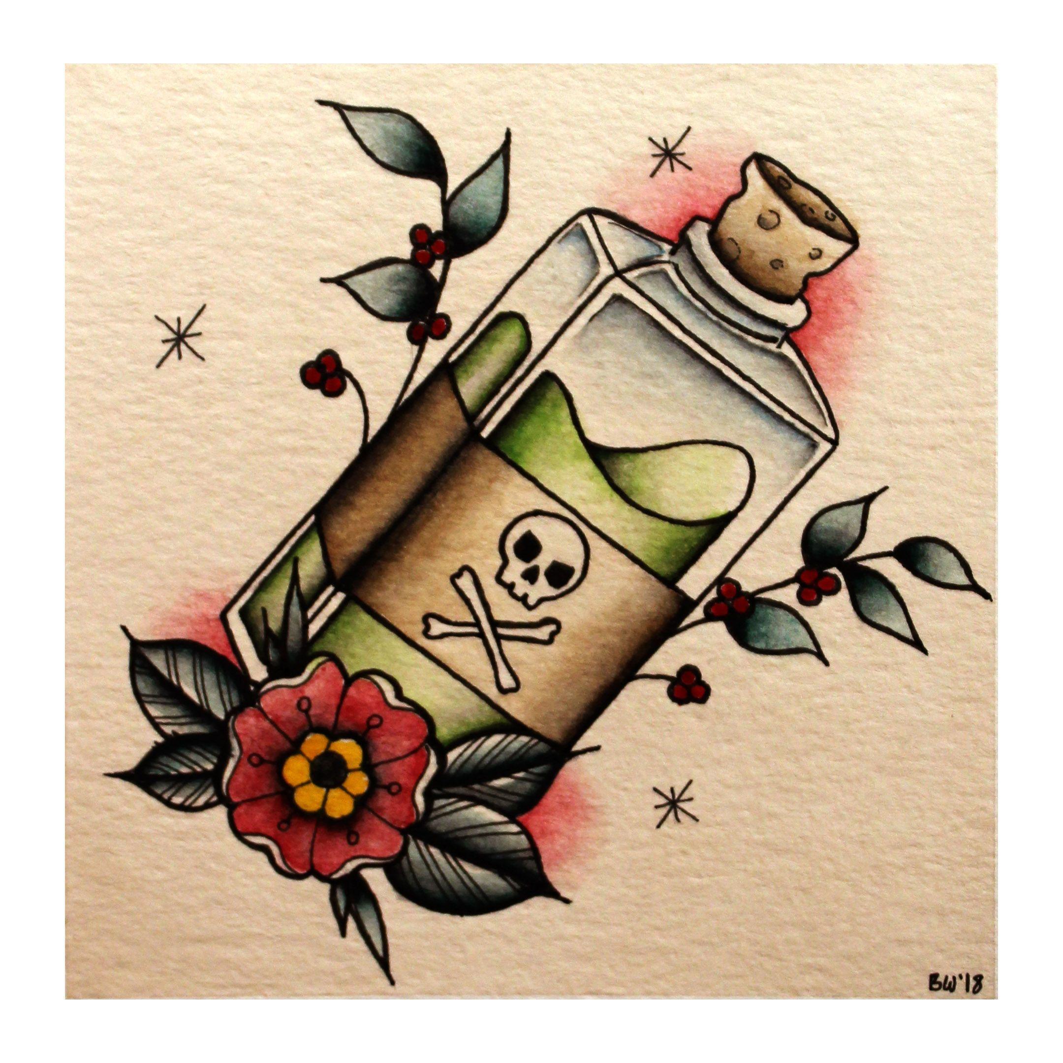 Photo of Une petite conception de flash de tatouage de bouteille de poison traditionnelle, réalisée à l'aquarelle. #thig …