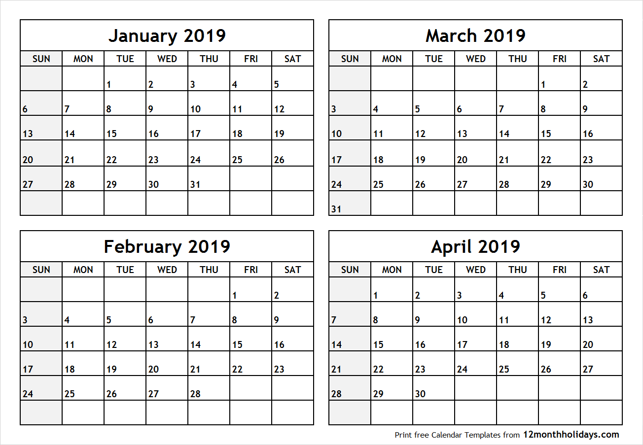 February-April 2019 Calendar Printable Blank Four Month January February March April 2019