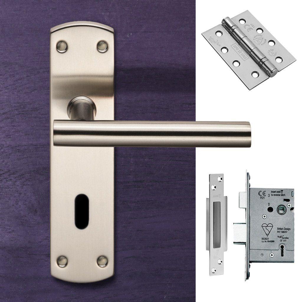 Steelworx Cslp1164p Sss T Bar Lever Lock Satin Stainless Steel Combo Accessory Pack Door Handles Door Handles Modern Steel Handle