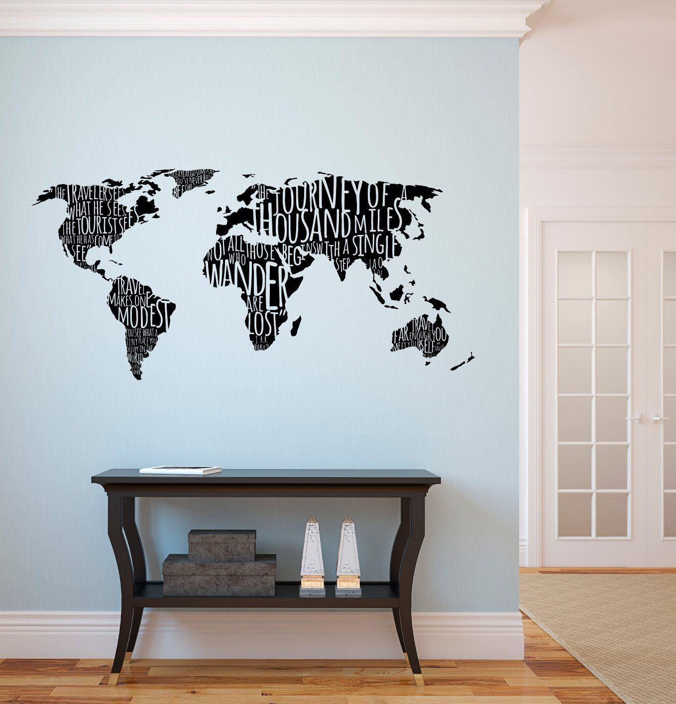 Amazon Com World Map With Travel Quotes Custom Vinyl Wall Art