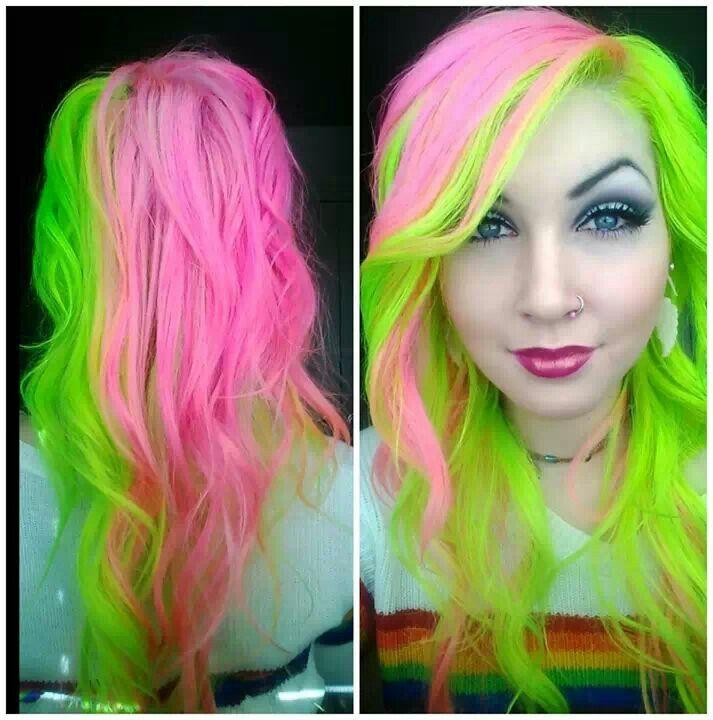 Pink Lime Green Model Hannah Hospital Manic Panic Neon Green Hair Neon Hair Green Hair
