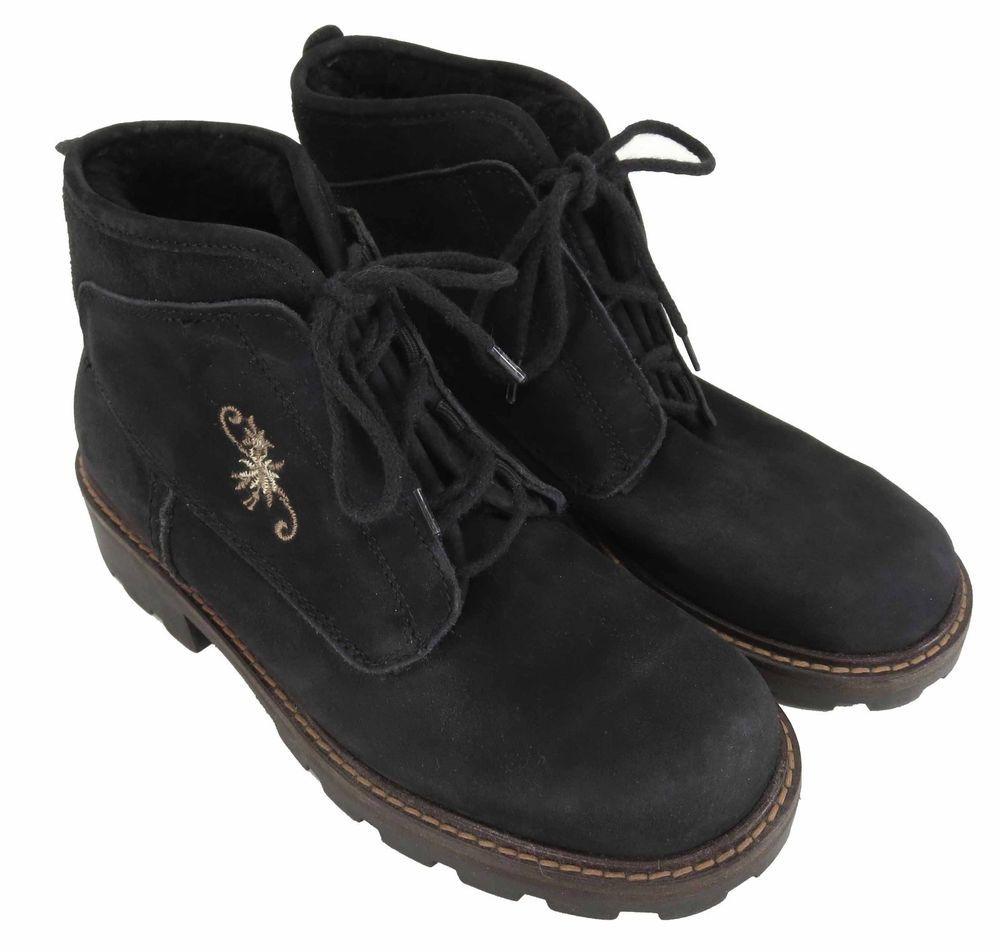 Marzetti 37 EU 6.5 Black Suede Sheepskin Womens Winter Apres Ankle Boots  Italy #Marzetti #