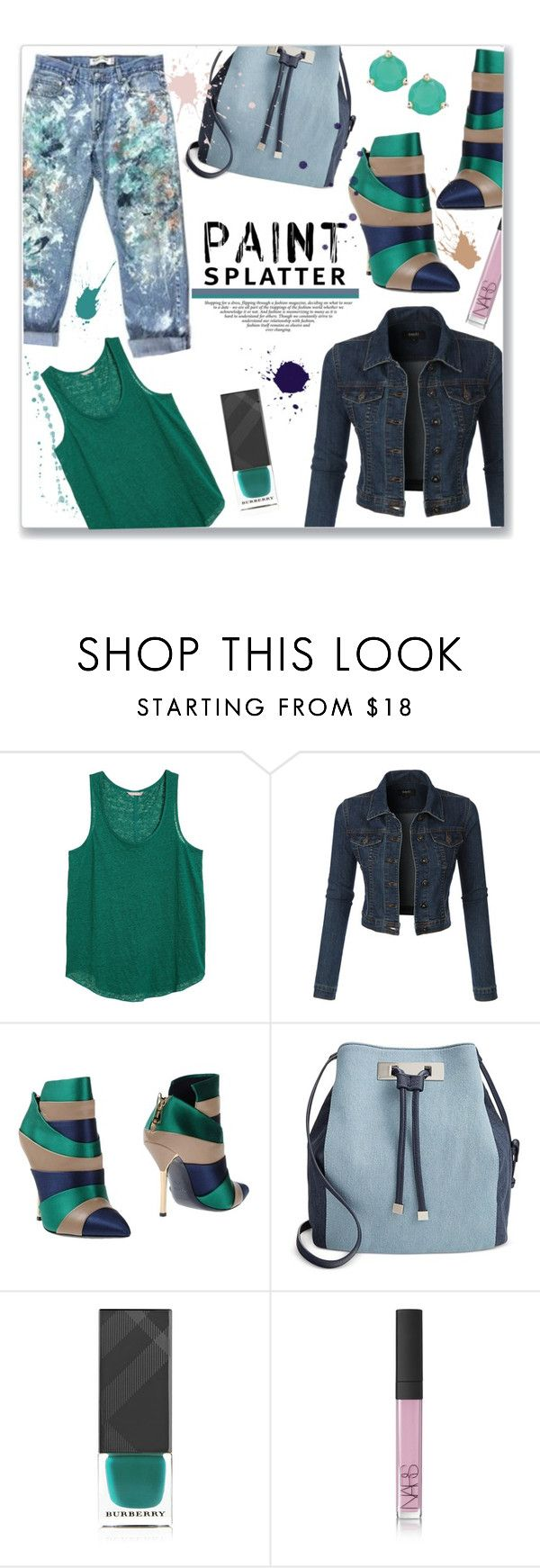 """""""One Piece at a Time"""" by jckallan ❤ liked on Polyvore featuring H&M, LE3NO, Vionnet, INC International Concepts, Burberry, NARS Cosmetics, Kate Spade and paintsplatter"""