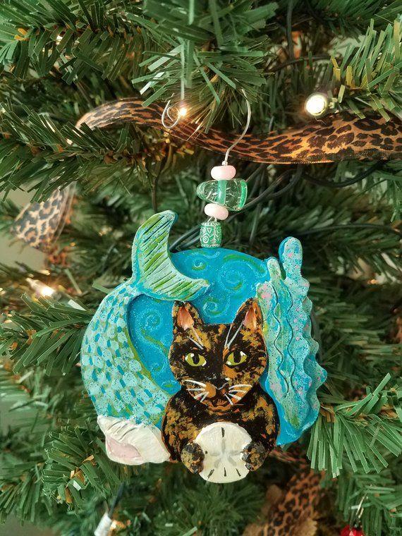 Mermaid Cat Ornament Tortoiseshell Cat Cat Ornament
