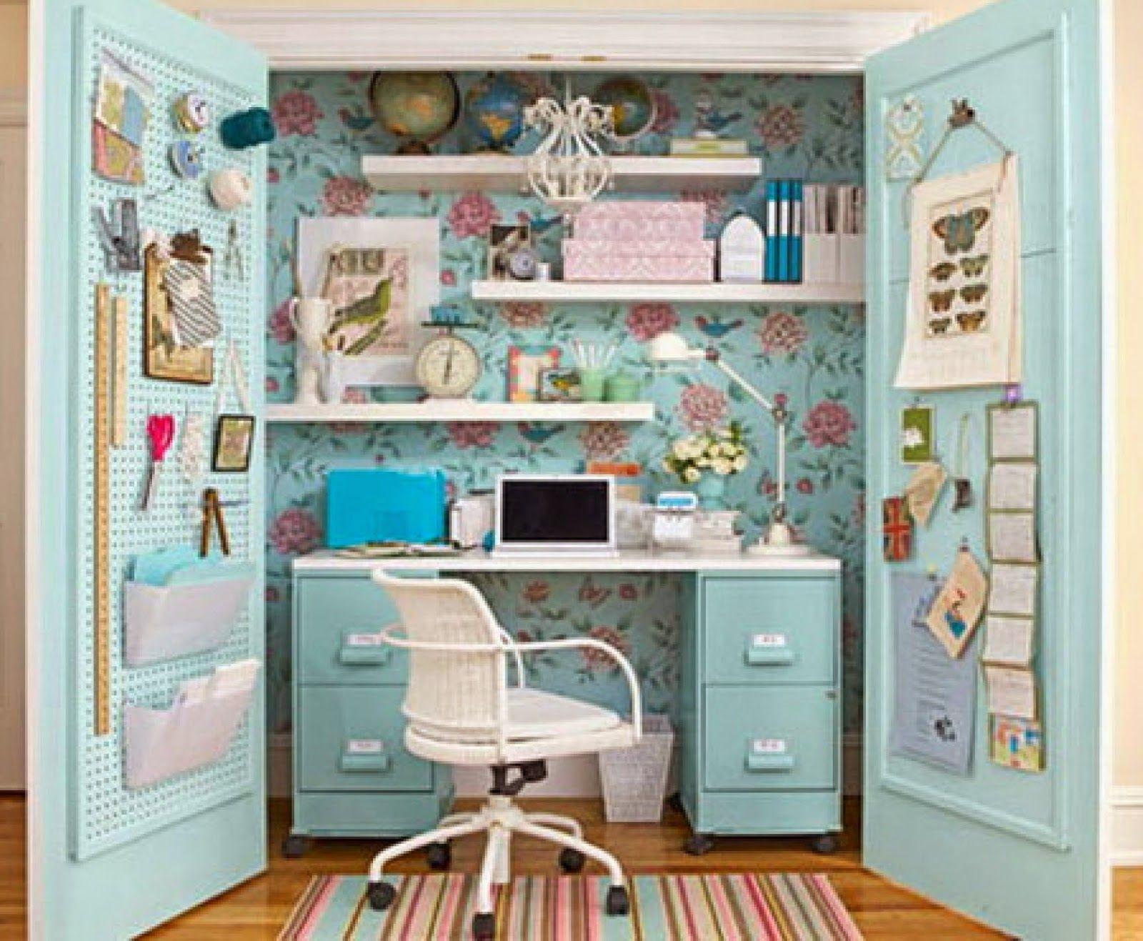 Un bureau dans le placard just cool ideas pinterest - Transformer une armoire en bureau ...