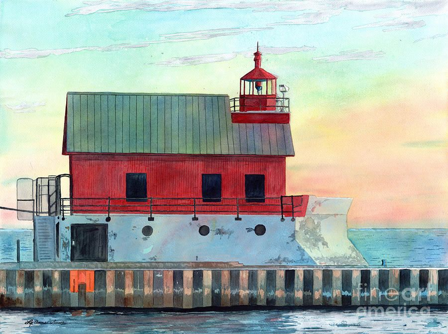 Grand Haven Outer Light Lighthouse Paintings Lighthouse Prints Lake Michigan Lighthouse Painting Lighthouse Print Painting