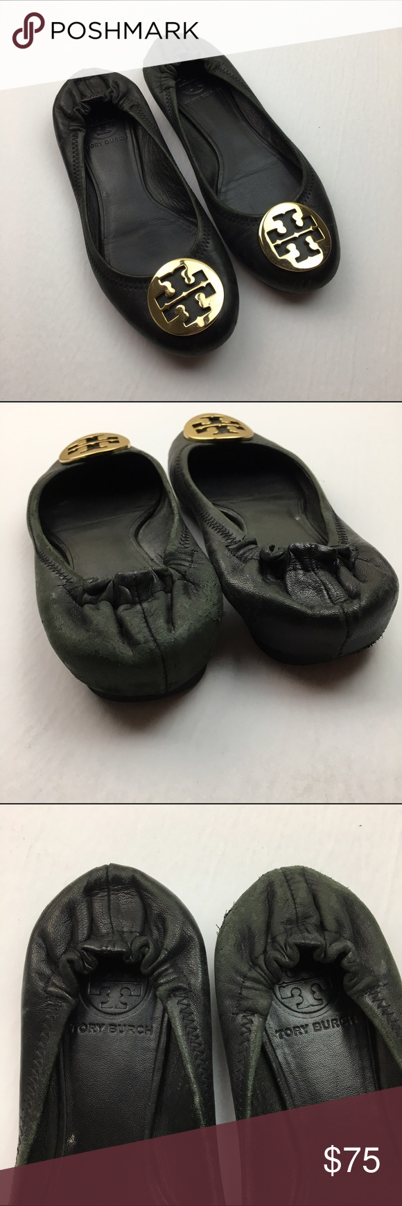 Tory Burch Authentic Black Leather Reva Flats The heels and toes of these are quite worn, but the body of the shoes still look fine. Please see photos for details. Tory Burch Shoes