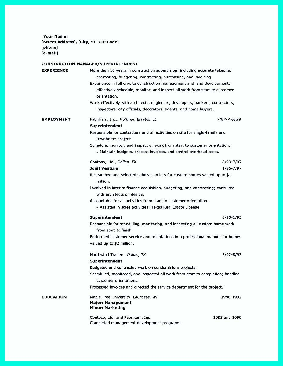 cool perfect construction manager resume to get approved