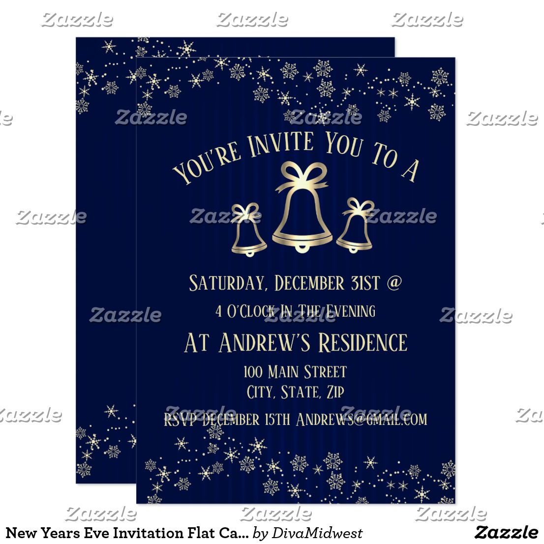 New Years Eve Invitation Flat Card New years eve