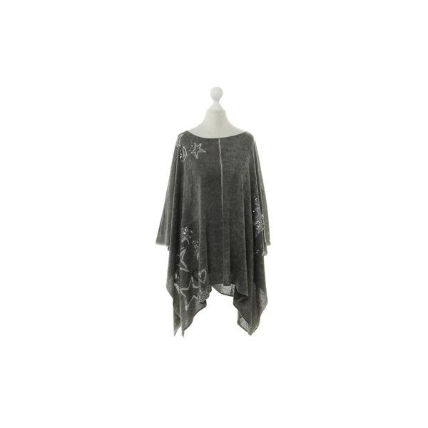 Pre-owned Princess goes Hollywood - poncho with sequin trim (985 NOK) ❤ liked on Polyvore featuring outerwear, grey and grey poncho