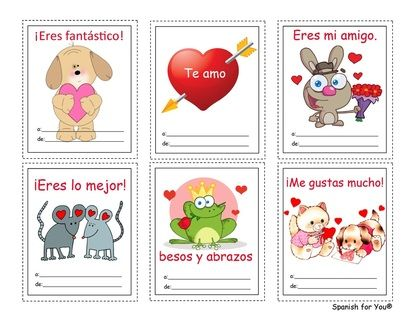 Free Spanish ValentineS Day Cards With Audio And Translation Key
