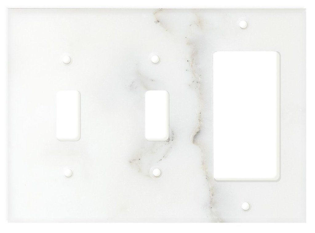Italian Calacatta Gold Marble Double Toggle Rocker Switch Wall Plate Switch Plate Cover Honed Plates On Wall Switch Plate Covers