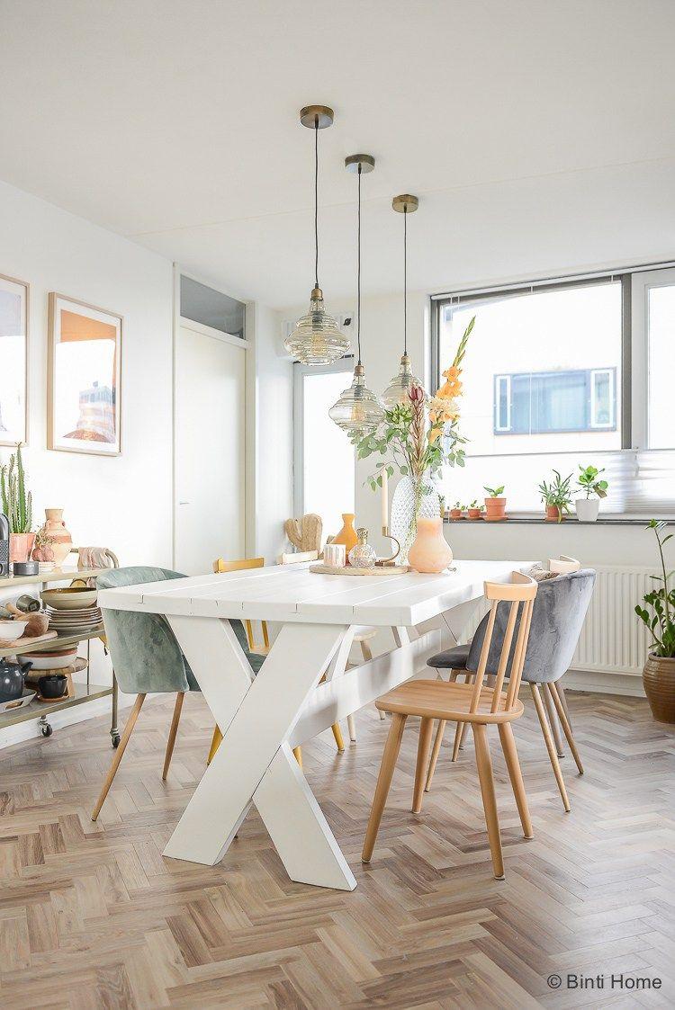 Houten eettafel wit verven voor onze eetkamer make-over | Dream ...